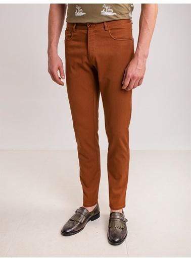 Dufy Grı Düz Pamuk Lıkra Karışımlı Kanvas Erkek Pantolon - Regular Fıt Kahve